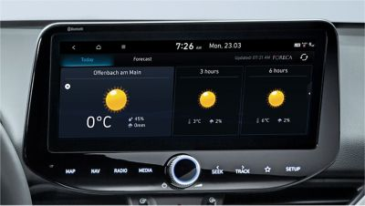 Image of the 10.25-inch screen of the new Hyundai i30, showing live weather forecast.